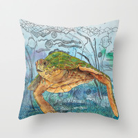 Shelley Blue Throw Pillow by Catherine Holcombe | Society6
