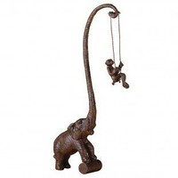 Uttermost Elephant Monkey Swing Sculpture in Bronze - 19461 - Decorative Accents - Decor