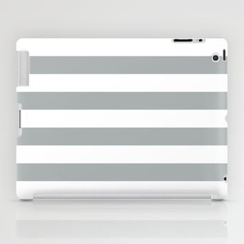 Stripe Horizontal Grey & White iPad Case by BeautifulHomes | Society6
