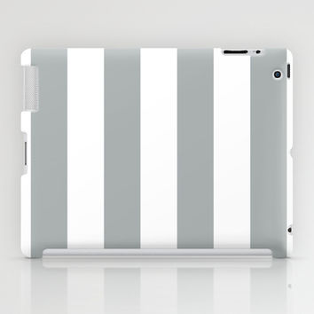 Stripe Vertical Grey & White iPad Case by BeautifulHomes | Society6