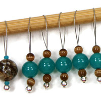 Stitch Markers Snagless Teal Brown DIY Knitting Tools Beaded Knitting Gift for Knitter Snag Free