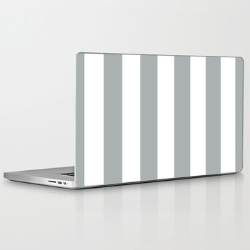 Stripe Vertical Grey & White Laptop & iPad Skin by BeautifulHomes | Society6