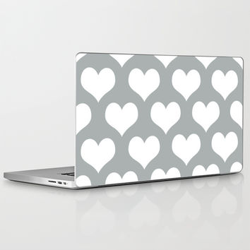 Hearts of Love Grey & White Laptop & iPad Skin by BeautifulHomes   Society6