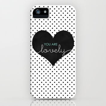 You Are Lovely - Typography, Charcoal Heart, & Black Polka Dots iPhone & iPod Case by Tangerine-Tane