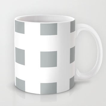 Cross Squares Grey & White Mug by BeautifulHomes | Society6