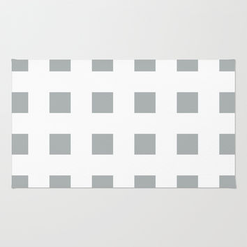 Cross Squares Grey & White Area & Throw Rug by BeautifulHomes   Society6