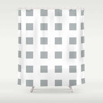 Cross Squares Grey & White Shower Curtain by BeautifulHomes   Society6