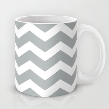 Chevron Grey & White Mug by BeautifulHomes | Society6