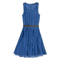 Charming Azure Pleated Dress Inspired by Kate Middleton [TOQ0510001] - $69.99 :