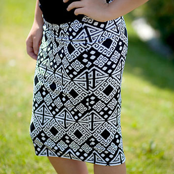 Pencil Skirt - Inca Black/White