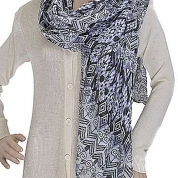 Black & Grey Tribal Print Scarf