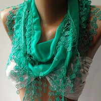 Nile Green Elegance Shawl / /Scarf with Lace Edge by womann