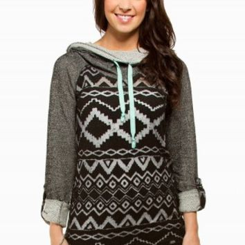 AZTEC BURNOUT TUNIC FLEECE