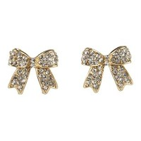 Stone Bow Stud Earrings