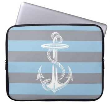 Vintage Anchor Blue Gray Stripe Laptop Sleeve
