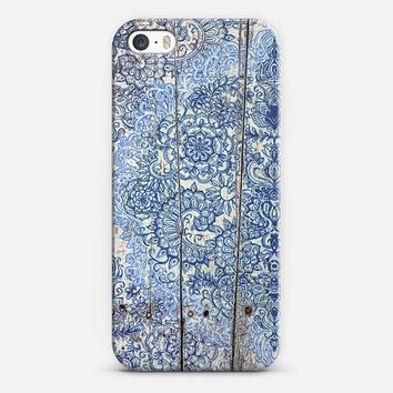 Cornflower Blue Botanical Doodle on Weathered Wood iPhone 5s case by Micklyn Le Feuvre | Casetify