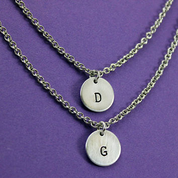 Double Strand Initial Necklace - Personalized Handstamped Initial Necklace