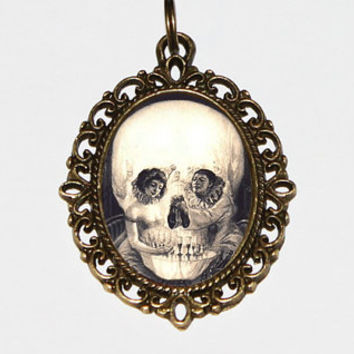 Skull Necklace, A Pierrot's Love, Victorian, Gothic, Oval Pendant