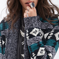Tribal Print Ribbed Cardigan