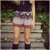 Tribal Dancer Red Aztec Shorts
