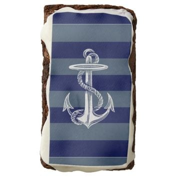 Vintage Anchor Navy Gray Blue Stripe Brownie