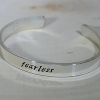 Fearless Thick Sterling Silver Cuff Bracelet for Courage and Strength