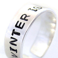 Winter Is Coming Sterling Silver Ring - ASOIAF, Game of Thrones Inspired Jewelry | foxwise