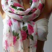 Pink Flowers Silky Touch Elegance Shawl / Scarf by womann,,,,