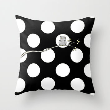 Out on a Limb - Polka Dot Owl Moon Throw Pillow by Micklyn | Society6