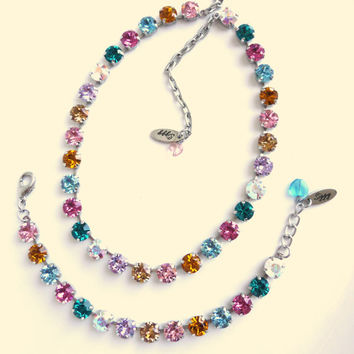 Swarovski Crystal full length Necklace - Made with CRYSTALLIZED™  Swarovski Elements,  designer Inspired multi colored, rainbow, Siggy bling