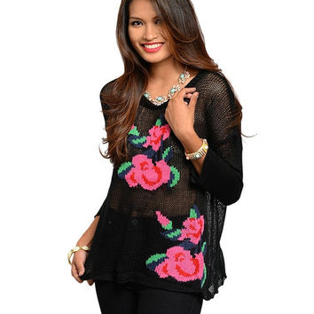 Black Floral Knit Sweater