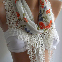 Elegance Shawl / Scarf with Lacy Edge by womann on Etsy,,,,