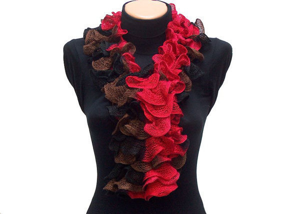 Hand knitted RedBlackBrown ruffled scarf by Arzus on Etsy