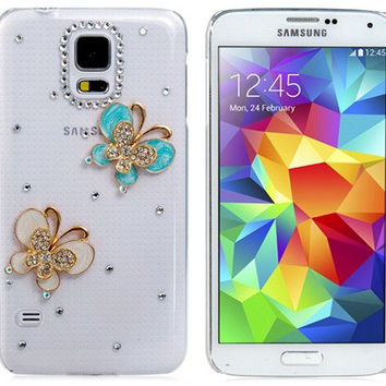 Crystal Butterfly Plastic Case for Samsung Galaxy S5