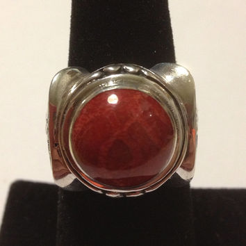 Red Carnelian Sterling Ring Size 8 925 Silver Tribal Southwestern Vintage Jewelry Christmas Birthday Holiday Cocktail Anniversary Xmas Gift