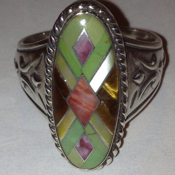 Carolyn Pollack Inlay Ring Sz 9.5 Spiny Oyster Tiger Eye Sugalite Variscite MOP Pearl Sterling Silver Vintage Southwestern Jewelry Relios