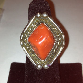 Old Pawn Red Coral Ring Sterling Silver Sz 7 Navajo Vintage Jewelry Tribal Southwestern Christmas Birthday Cocktail Holiday Valentine's Gift
