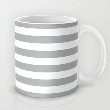 Stripe Horizontal Grey & White Mug by BeautifulHomes | Society6