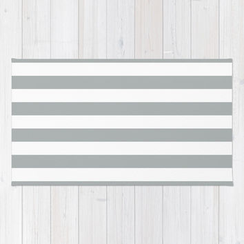Stripe Horizontal Grey & White Area & Throw Rug by BeautifulHomes | Society6