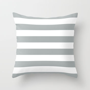 Stripe Horizontal Grey & White Throw Pillow by BeautifulHomes | Society6