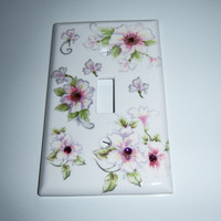 Wild roses single light switch cover - swarovski crystals