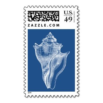 Sea Shell Blue Beach Postage Stamp