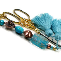 Beaded Scissor Fob Aqua Blue Copper Heart Quilting Sewing Cross Stitch Gift for Crafter DIY Crafts