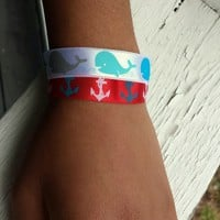 Under The Sea Whales And Anchors Double Ribbon Bracelet. from Evangelina's Closet