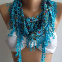 Blue Elegance Shawl with Lacy Edge by womann on Etsy,,,,