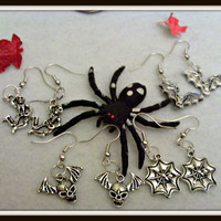 Goth Skull Bat And Spider Earings CLIP OR PIERCED