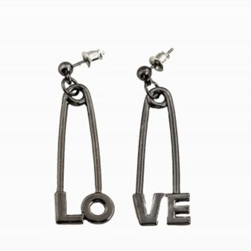 LOVE SAFETY PIN EARRINGS