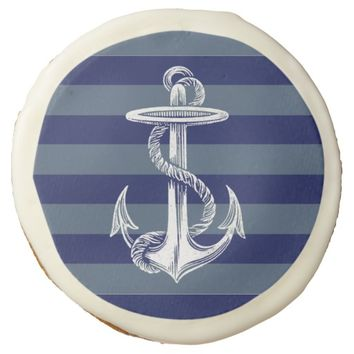 Vintage Anchor Navy Gray Blue Stripe Cookie