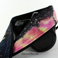 303 Galaxy Camera Strap, Hand painted, One of a Kind, dSLR or SLR, Cosmos, Nebula, OOAK