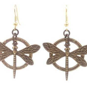 Surgical Steel and Brass Dangle Earrings Dragonfly and Circle